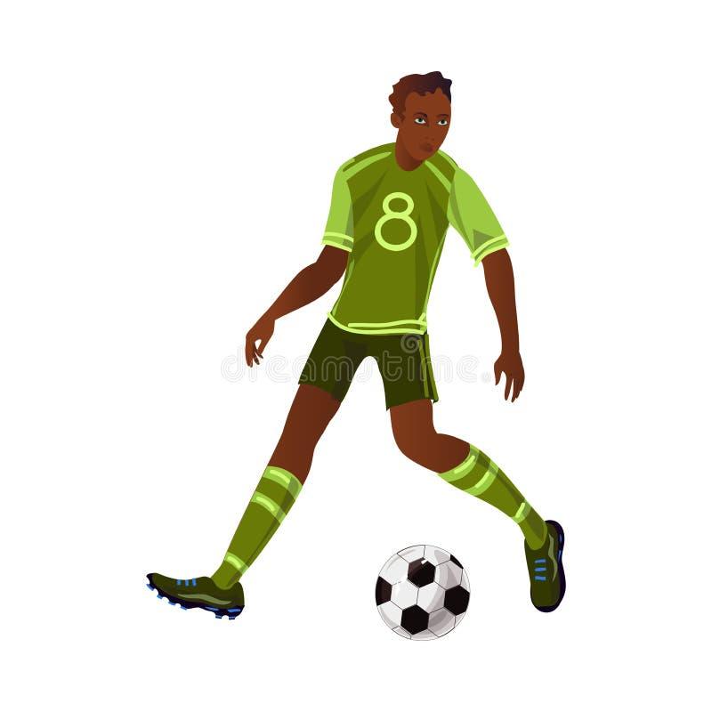 Den moderna afro amerikanska fotbollspelaren gör en dribbling vektor illustrationer