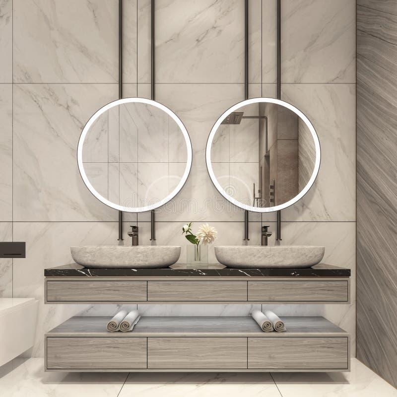 Den moderna badrumdesignen med vit marmorerar tegelplattor arkivbilder