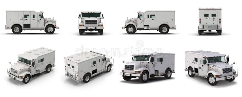 Den moderna bankpansarbilen framför uppsättningen från olika vinklar på en vit illustration 3d vektor illustrationer