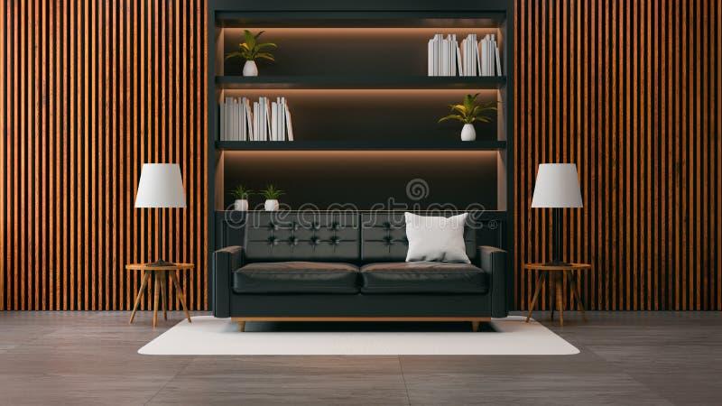 Den moderna designen för vindvardagsruminre, den svarta soffan med den svarta bokhyllan och den gamla wood väggen /3d framför stock illustrationer