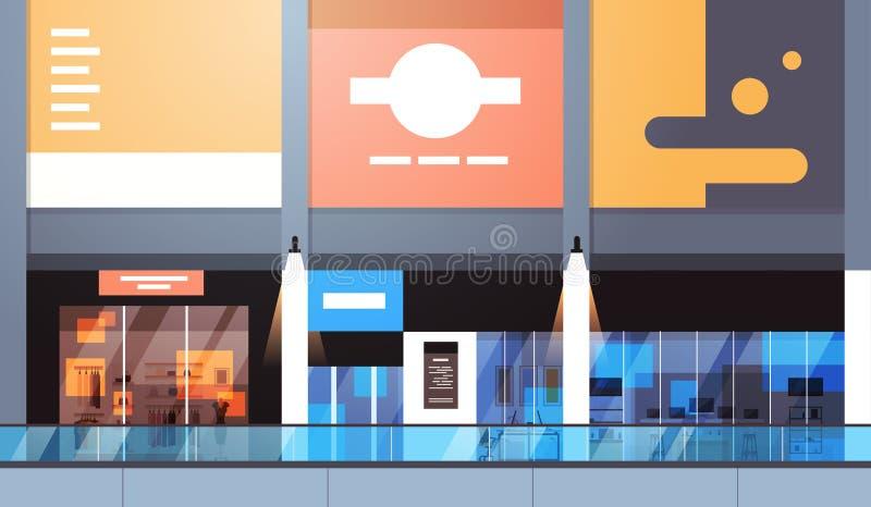 Den moderna detaljisten med många shoppar och den tomma inre för supermarket inga personer vektor illustrationer