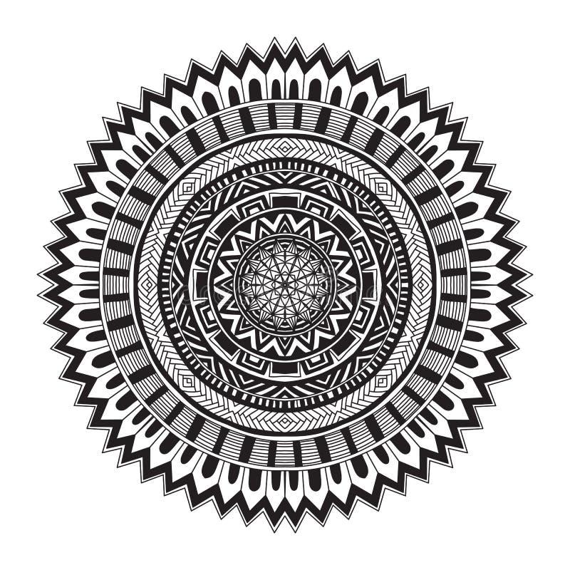 Den moderna doilyrundan snör åt den blom- modellen stock illustrationer