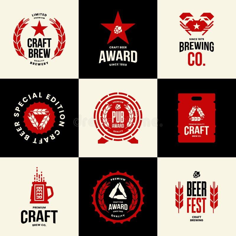 Den moderna hantverköldrinken isolerade vektorlogotecknet för stång, bar, lager, brewhouse eller bryggeri royaltyfri illustrationer