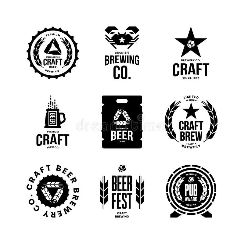 Den moderna hantverköldrinken isolerade vektorlogotecknet för stång, bar, lager, brewhouse eller bryggeri vektor illustrationer