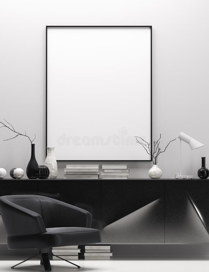 Den moderna hemmiljön i svartvita färger, förlöjligar upp affischram vektor illustrationer