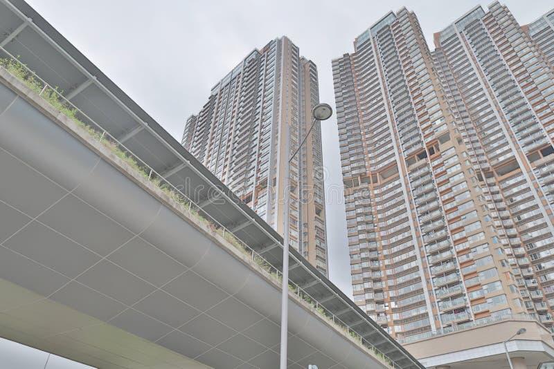 den moderna hyreshusen på den kowloon sidan arkivfoto