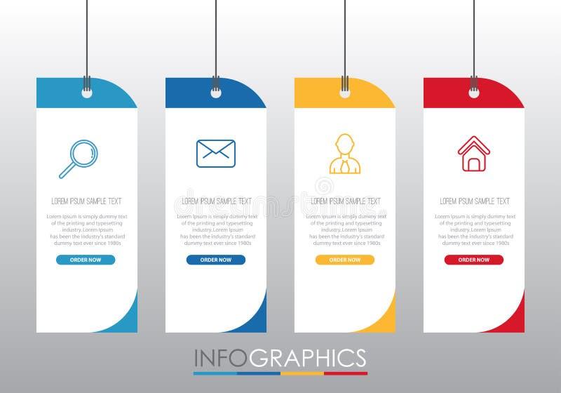 Den moderna Information-diagrammet mallen för affär med denfärg för fyra moment designen, etiketter planlägger, den vektorinforma royaltyfri illustrationer