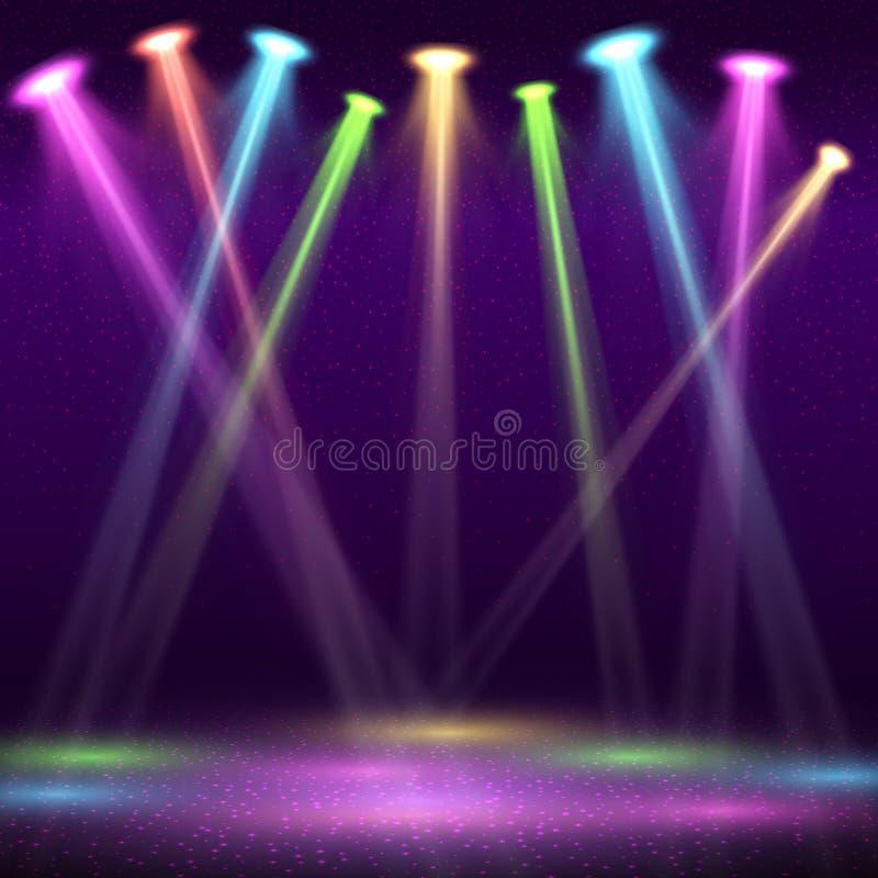 Den moderna inre av nattklubben med den tomma showetappen och färg spot ljusvektorillustrationen stock illustrationer