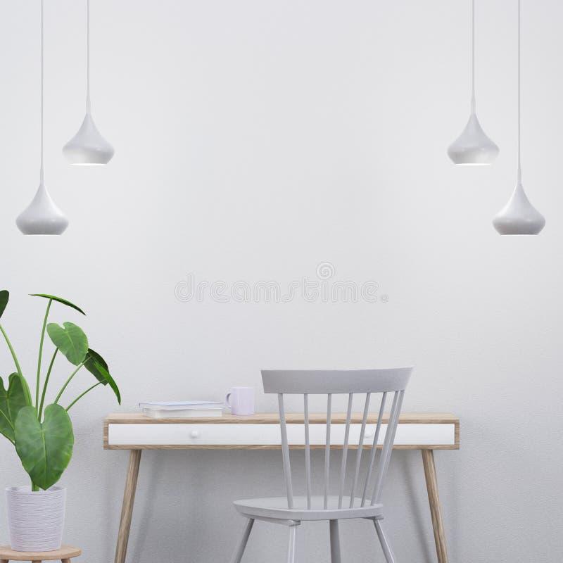 Den moderna inre platsen med en konsol och en stol, 3D framför royaltyfri bild