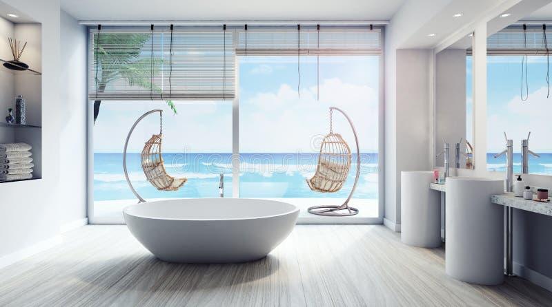 Den moderna inredesignen av badrummet 3D framför royaltyfri illustrationer