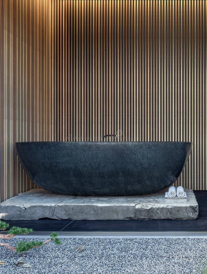 Den moderna inredesignen av badrummet med svart marmorerar badkaret och träväggpaneler royaltyfri bild