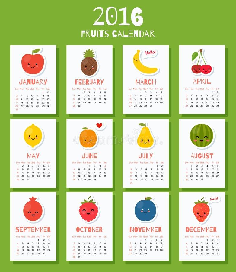 Den moderna kalendern för nytt 2016 år med den roliga tecknade filmen bär frukt stock illustrationer