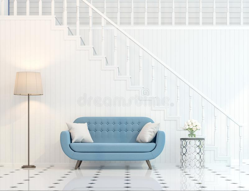 Den moderna klassiska trappakorridoren 3d framför stock illustrationer
