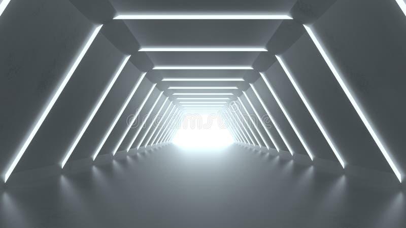 Den moderna korridorabstrakt begreppscience fictionen 3D framför royaltyfri illustrationer