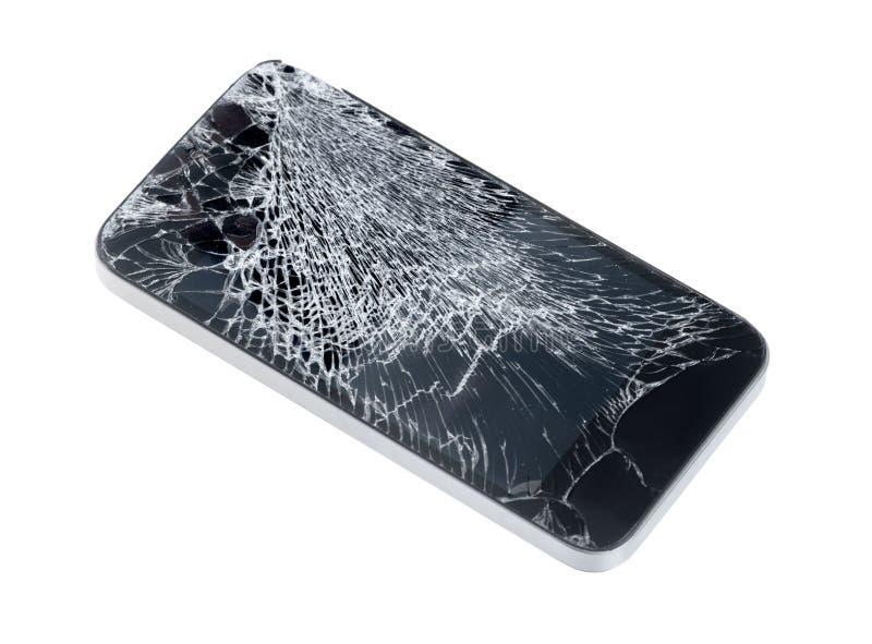 Den Apple iPhonen med brutet avskärmer royaltyfria bilder