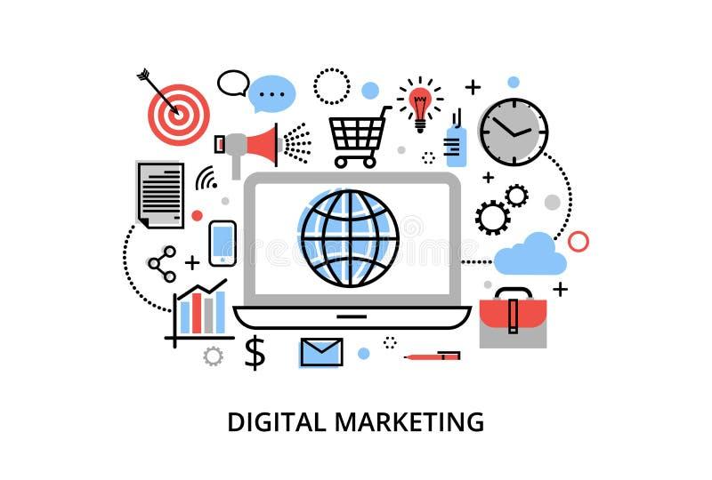 Den moderna plana tunna linjen designvektorillustration, begrepp av den digitala marknadsföringen, internetmarknadsföringsidé och stock illustrationer