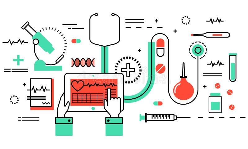 Den moderna plana tunna linjen designvektorillustration, begrepp av medicin och sjukvården, vård- kontroll och medicinsk utrustni royaltyfri illustrationer