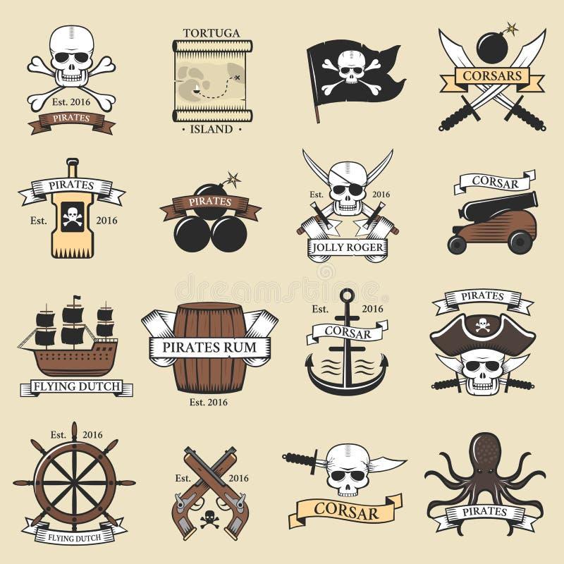Den moderna professionelln piratkopierar mallen för banret för det marin- svärdet för emblem för logoen nautiska den gamla skelet royaltyfri illustrationer