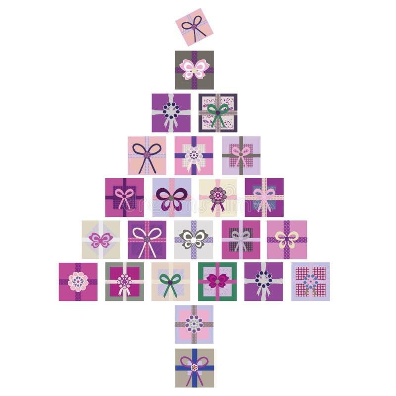 Den moderna purpurfärgade, rosa och gröna vektorn isolerade illustrationen av julgranen som gjordes från buntar av gåvor royaltyfri illustrationer