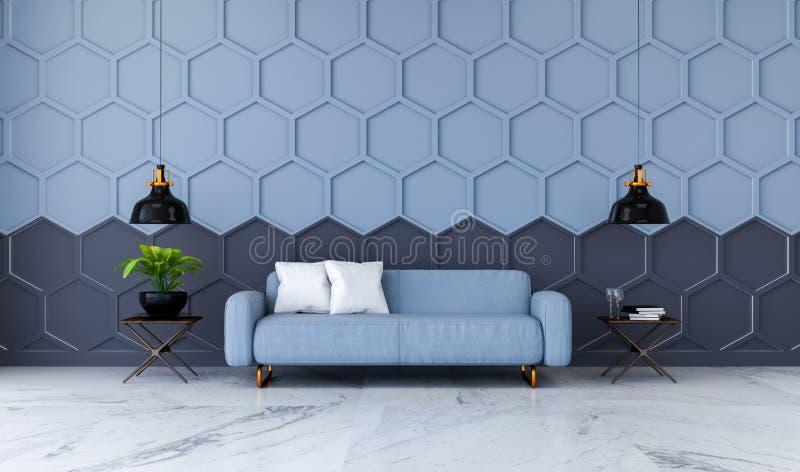 Den moderna ruminredesignen, den blåa tygsoffan på marmordurk och blått med den svarta sexhörningsingreppsväggen /3d framför royaltyfri illustrationer