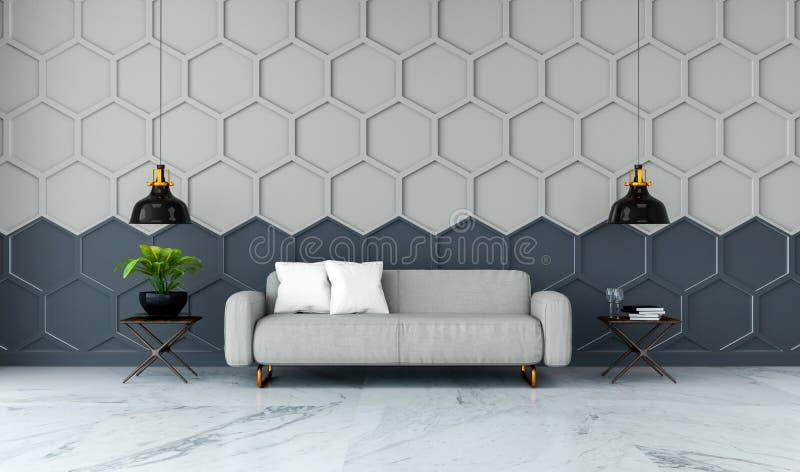 Den moderna ruminredesignen, den gråa tygsoffan på marmordurk och grå färger med den svarta sexhörningsingreppsväggen /3d framför stock illustrationer