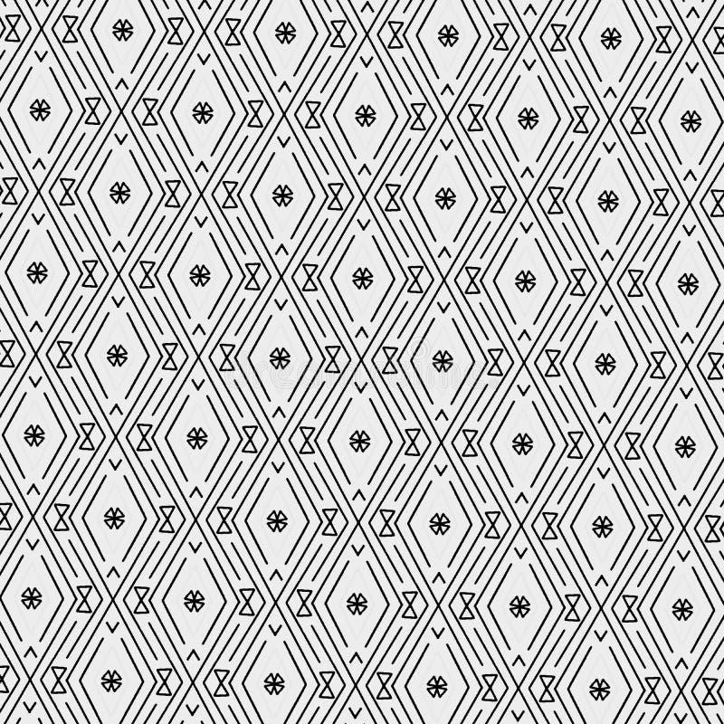 Den moderna sömlösa modellen av diamanter, trianglar och sicksacken fodrar i grå skala stock illustrationer