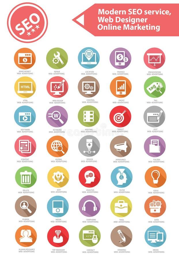Den moderna SEO Service, rengöringsdukformgivaren och online-marknadsföringssymbolen ställde in vektor illustrationer