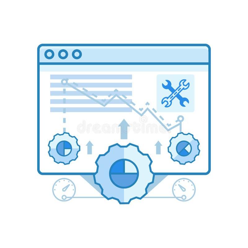 Den moderna släta rengöringsdukwebbläsaren, optimization, inställningar planlägger symboler för rengöringsduk och grafisk design, arkivfoton