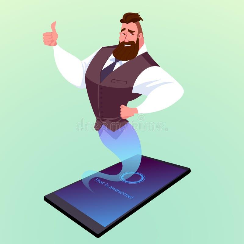 Den moderna smartphonen med den faktiska assistenten gillar en ande i arabiska sagor stock illustrationer