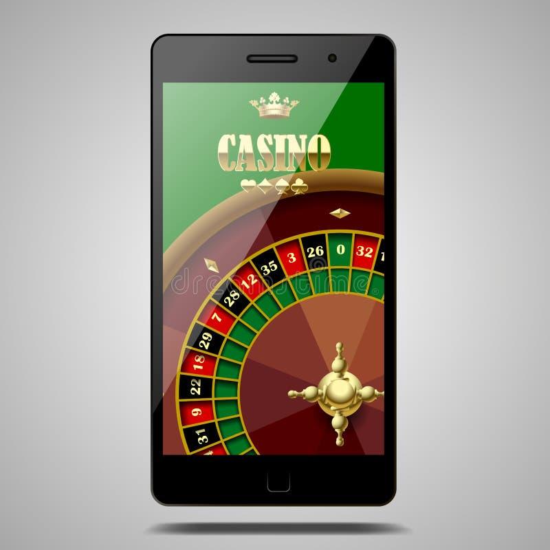 Den moderna telefonen som isoleras på vit med kasinorouletten, rullar in stock illustrationer