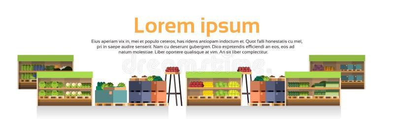 Den moderna toppna marknaden bordlägger detaljisten, supermarket med sortimentet av livsmedelsbutikmat vektor illustrationer