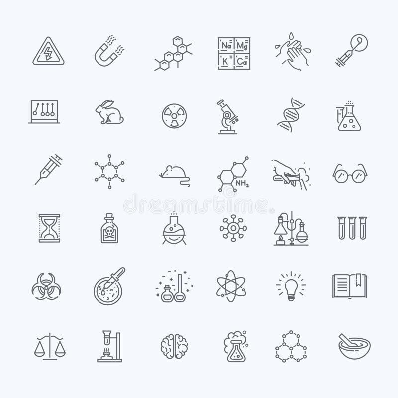 Den moderna tunna linjen symbolsuppsättning av biokemi forskar royaltyfri illustrationer