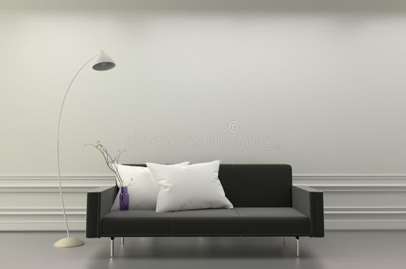Den moderna vardagsruminre - svart soffa och den vita kuddar och lampan - hyra rum vit elegant stil framf?rande 3d stock illustrationer