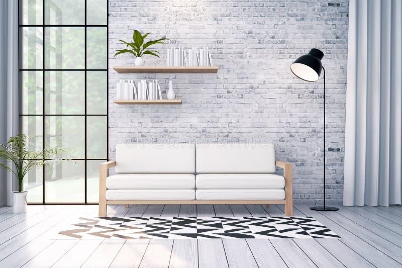 Den moderna vindinredesignen, den vita soffan och svartlampan på tegelstenväggen, 3d framför royaltyfri illustrationer