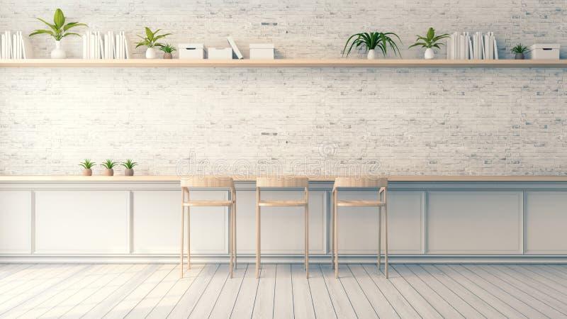 Den moderna vindinredesignen, den wood stångstolen och vittegelstenväggen planlägger, tappningstil, 3d framför royaltyfri illustrationer