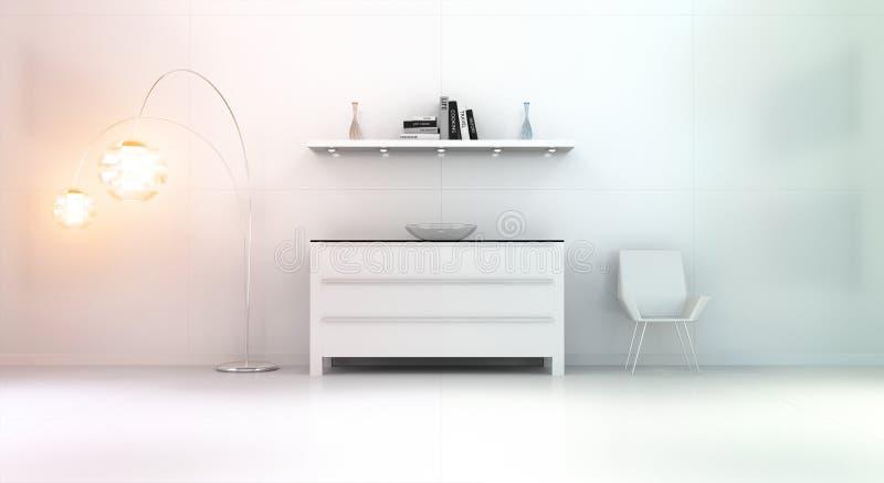 Den moderna vita orange inre med byrån och bordlägger 3D vektor illustrationer