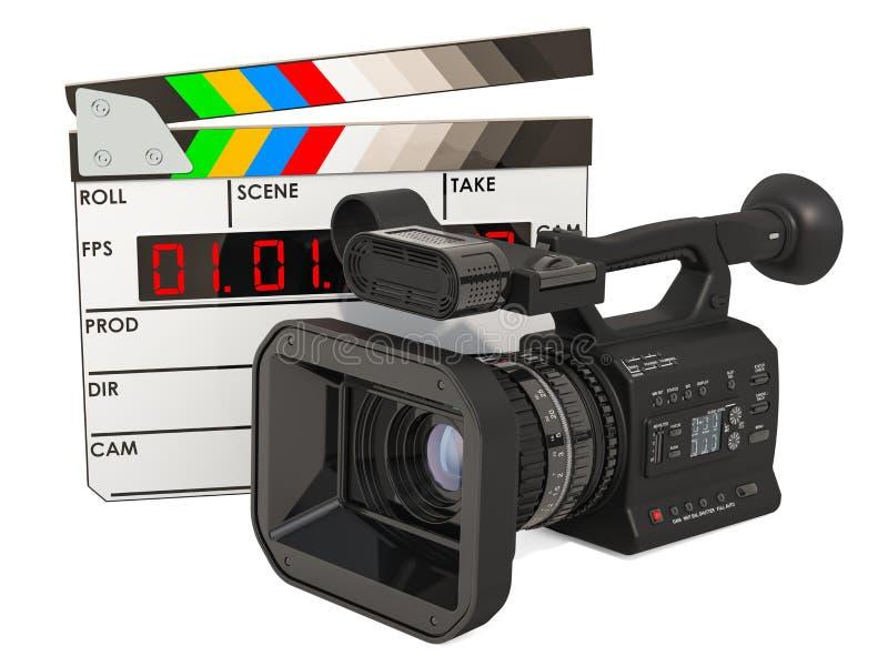 Den moderna yrkesmässiga filmkameran med Mattebox och följer fokusen på abstrakt utrymmebakgrund Yrkesmässig videokamera med den  vektor illustrationer