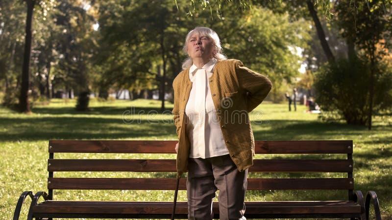Den mogna kvinnan som tillbaka känner sig, smärtar att stå upp från parkerar bänken, hälsoproblem royaltyfri foto