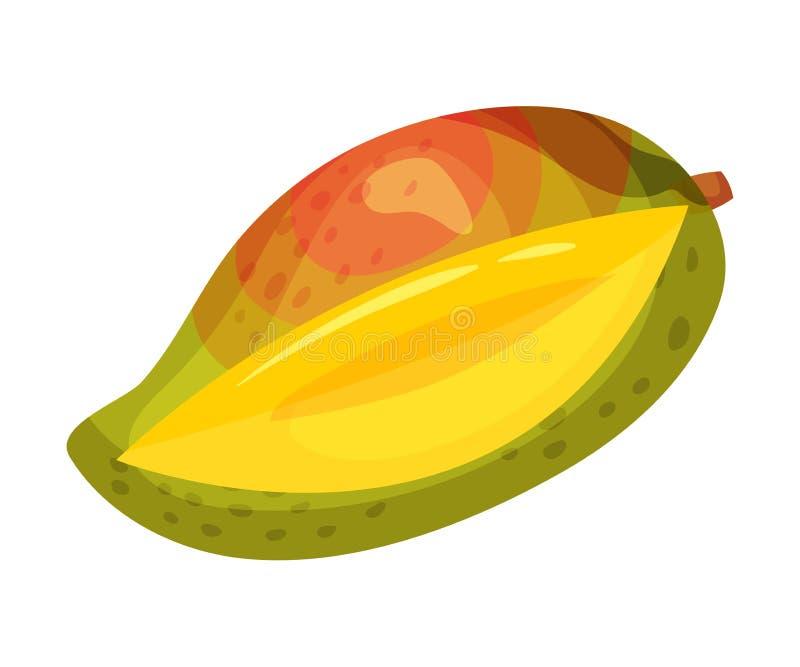 Den mogna röda gröna mango göra hack i white f?r vektor f?r bakgrundsillustrationhaj stock illustrationer