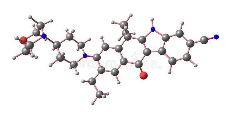 Den molekylära strukturen av Alectinib isolerade på vit royaltyfri illustrationer