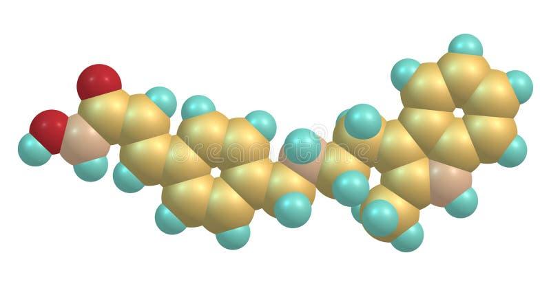 Den molekylära strukturen av Panobinostat isolerade på vit vektor illustrationer