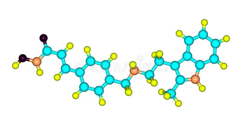 Den molekylära strukturen av Panobinostat isolerade på vit stock illustrationer