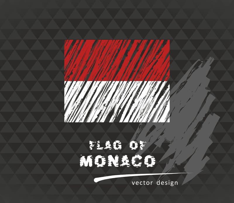 Den Monaco flaggan, vektor skissar handen drog illustrationen på mörk grungebakgrund stock illustrationer