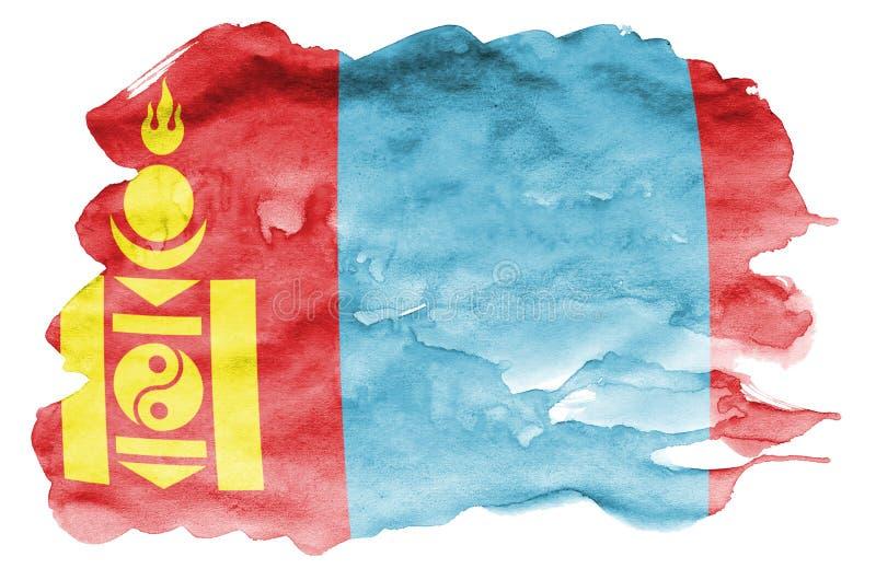 Den Mongoliet flaggan visas i vätskevattenfärgstil som isoleras på vit bakgrund fotografering för bildbyråer