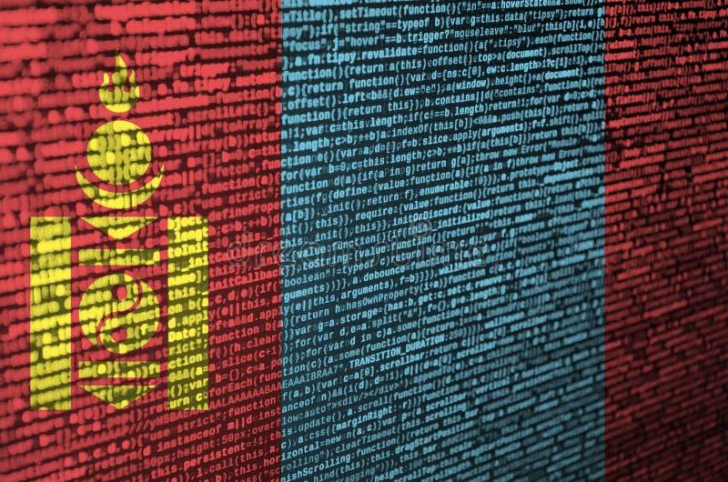 Den Mongoliet flaggan visas på skärmen med programkoden Begreppet av modern teknologi- och platsutveckling royaltyfria bilder