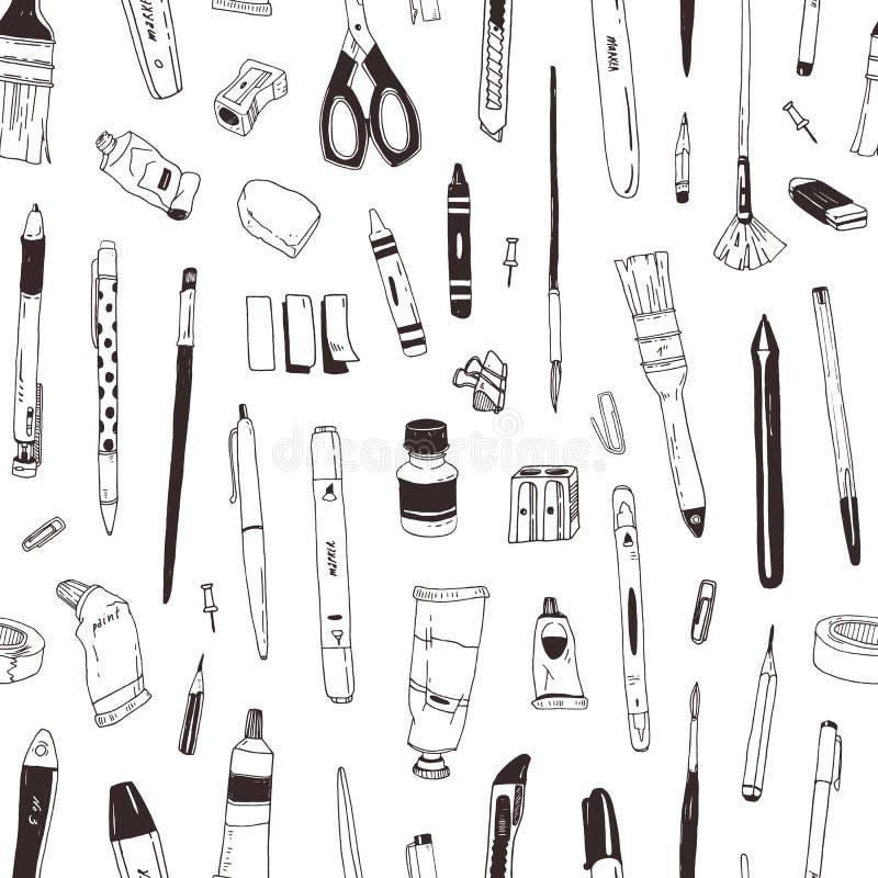 Den monokromma sömlösa modellen med brevpapper som drar objekt, kreativitetprodukter eller kontorstillförsel, räcker dragit med s vektor illustrationer