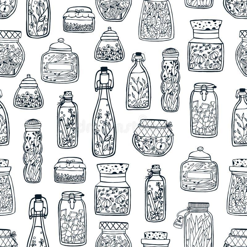 Den monokromma sömlösa modellen med hemlagade sylter i exponeringsglas skorrar, och flaskor räcker på utdraget med svarta konturl stock illustrationer