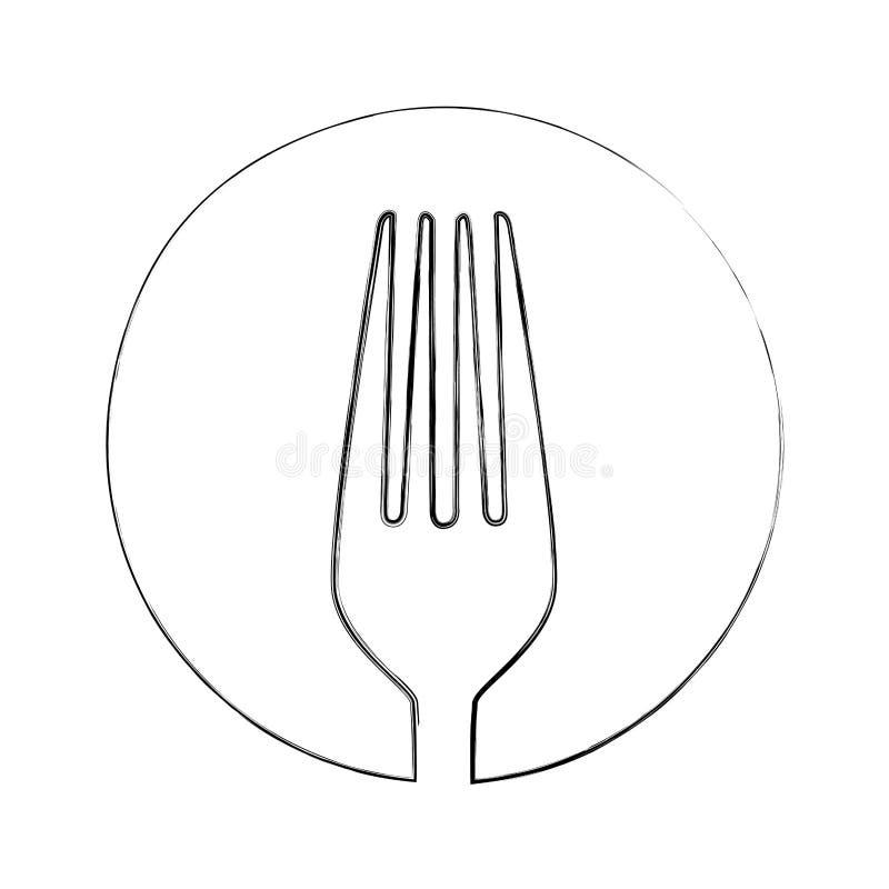 den monokromma suddiga konturen av skissar av gaffel i cirkel royaltyfri illustrationer