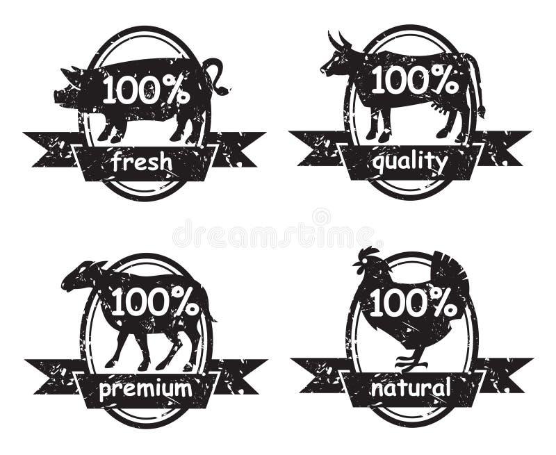 Uppsättningen av slaktare shoppar etiketter royaltyfri illustrationer
