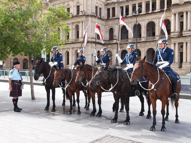 Den monterade polisen i Brisbane royaltyfri foto